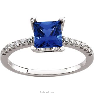 14K White Chatham Blue Sapphire 1/6 CTW Diamond Ring