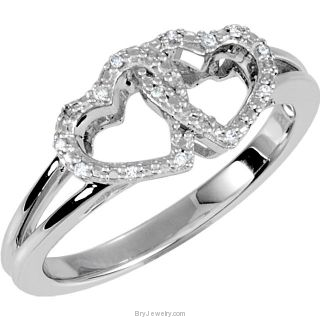 Double Heart and Diamonds Design Ring