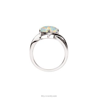 14K White Opal Diamond Ring
