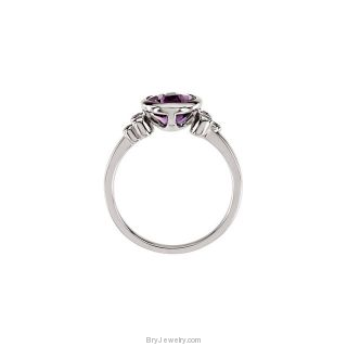 14K White Checkerboard Amethyst Diamond Ring