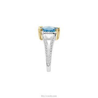 Sterling Silver 14K Yellow Swiss Blue Topaz Ring