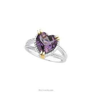 Sterling Silver Checkerboard Amethyst Ring