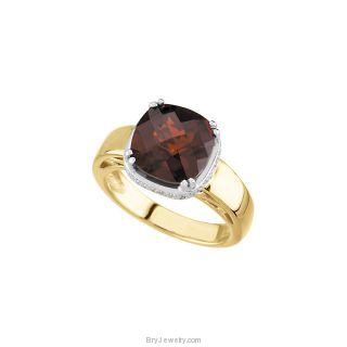 14K Yellow Mozambique Garnet Diamond Ring