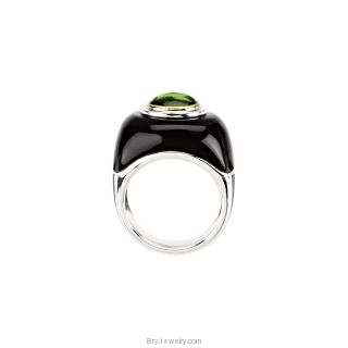 Sterling Silver Genuine Peridot Onyx Dome Ring