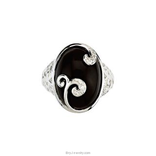 Sterling Silver Genuine Onyx .08Ct TW Diamond Ring