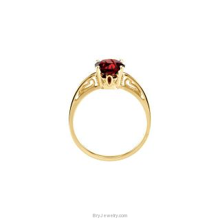 14K Yellow 7mm Genuine Mozambique Garnet Ring