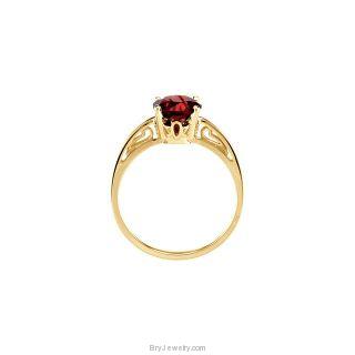 14K Yellow 7mm Genuine Mozambique Garnet Ring