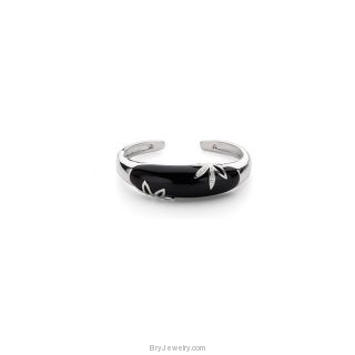 Sterling Silver Cuff Bracelet with Genuine Onyx & Diamonds