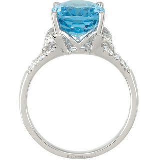 14K White Oval Swiss Blue Topaz Diamond Ring