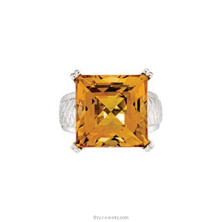 Sterling Silver Princess Cut Citrine Ring