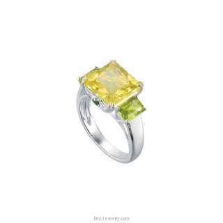 Sterling Silver Lime Quartz Peridot Chrome Diopside Ring