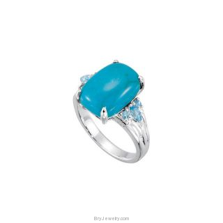 Sterling Silver Chinese Turquoise and Swiss Topaz Ring