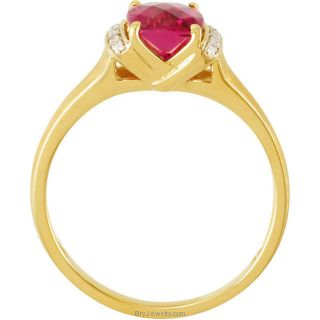14K Yellow Rubellite and Diamond Ring