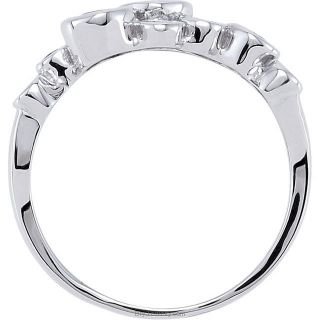 14K White Blue Round Sapphire Ring