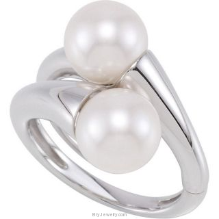Sterling Silver Two Cultured Pearls Hinged Two Finger Ring