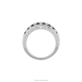 14K White Gold Blue Sapphire Diamond Ring