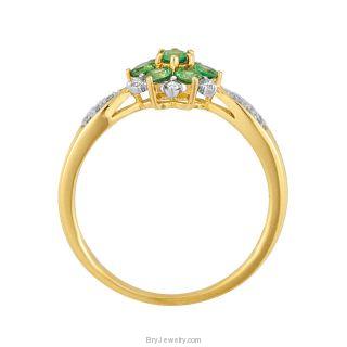 14K Yellow Gold Tsavorite Garnet Diamond Ring