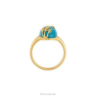 14K Gold Designer's Chinese Turquoise Ring