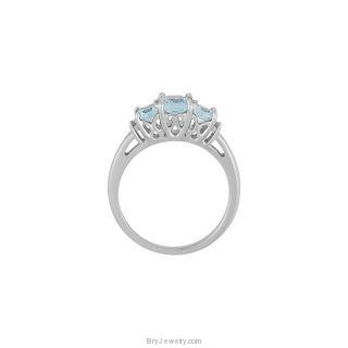 14K White Genuine Octagon Aquamarine Diamond Ring