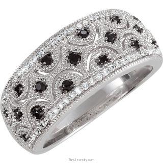 Sterling Silver Black Spinel Diamond Ring