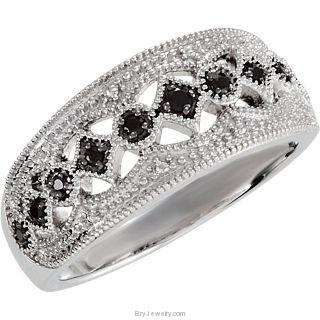 Sterling Silver Genuine Black Spinel Ring