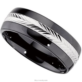 Ceramic Couture Domed Band with Sterling Silver Inlay