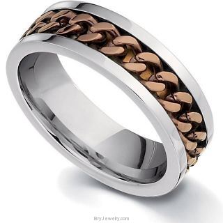Chocolate Immerse Plating Ring in Stainless Steel