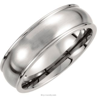 7mm Satin Polished Titanium Band