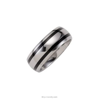 Dura Tungsten Band with Black Enamel Inlays