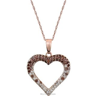 "14K Rose 1/2 CTW Pink & White Diamond Heart 18"" Necklace"
