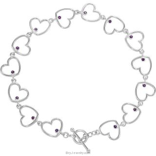 Amethyst Heart Link Toggle Clasp Bracelet
