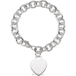 Sterling Silver Round Link Cable Bracelet with Heart 9.75mm