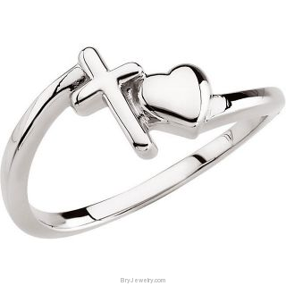 Cross and Heart Purity Ring
