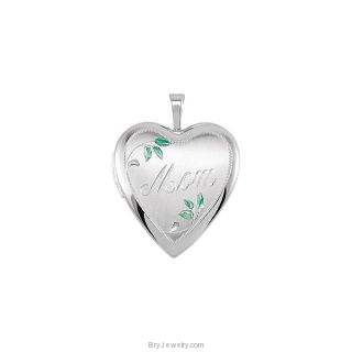 Sterling Silver Heart Engraved Mom Locket with Green Leafs