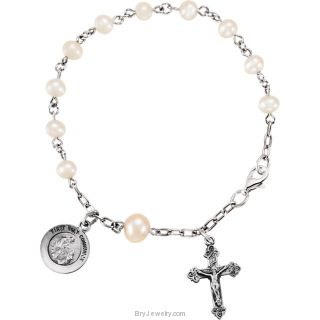 Freshwater Cultured Pearl First Holy Communion Rosary Bracelet