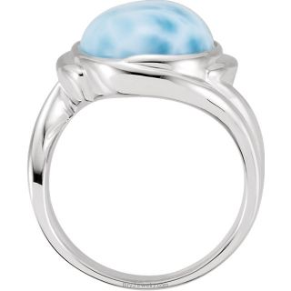 Side Sterling Silver Genuine Larimar Ring