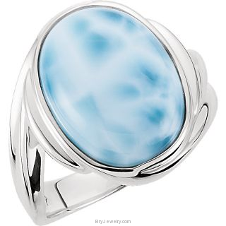 Sterling Silver Genuine Larimar Ring