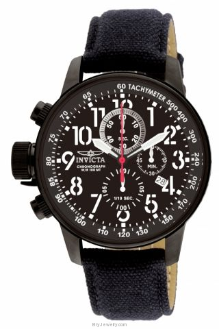 Invicta Men's 1517 Lefty All Black Chrono Suede Watch