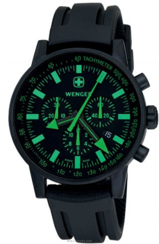 Wenger Men's Swiss Raid Commando Chrono Black/Green Dial Black