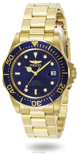 Invicta Men's 8930 Pro Diver 18K Gold Plated Blue Dial Watch